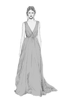 Fashion illustration - elegant long dress, fashion drawing // Natalie Lines