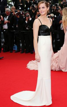 Emma Watson stole the show at Cannes in a monochrome Chanel SS13 gown that had a sequined, black sweetheart-necked upper half with spaghetti straps, whilst the bottom half was fitted to show off her slim figure.