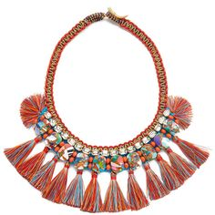 Tory Burch Macrame Statement Necklace ($255) ❤ liked on Polyvore featuring jewelry, necklaces, bib statement necklace, crochet necklace, tory burch necklace, tassle necklace and cord necklace