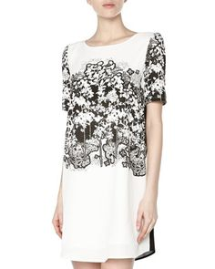 Forest-Print+Chiffon+Shift+Dress,+Black/White+by+Romeo+&+Juliet+Couture+at+Neiman+Marcus+Last+Call.