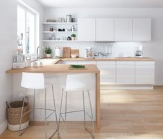 There is no question that designing a new kitchen layout for a large kitchen is much easier than for a small kitchen. A large kitchen provides a designer with adequate space to incorporate many convenient kitchen accessories such as wall ovens, raised. Scandinavian Kitchen, Kitchen Remodel, Modern Kitchen, New Kitchen, Loft Kitchen, Home Kitchens, Kitchen Layout, Minimalist Kitchen, White Kitchen Design
