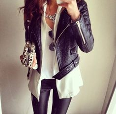 OOTD with leather jacket