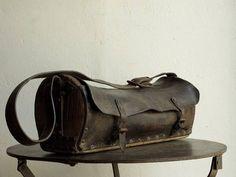 1900 フランス ツールバッグ アンティーク 革 鞄 工具 古道具_画像1