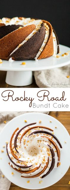 Rocky Road Bundt Cake - Alternating swirls of peanut butter and chocolate cake with a marshmallow glaze topped off with some candied peanuts.   livforcake.com