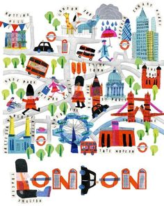 UK illustrator Tracey English started out as a textile designer and silk painter and then progressed into illustration work, London map London Illustration, Illustration Photo, Travel Illustration, London Map, London Poster, Travel Maps, Vintage Travel Posters, Illustrations Posters, Drawings