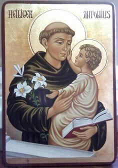 St Anthony of Padua Byzantine Icons, Byzantine Art, Catholic Saints, Patron Saints, Religious Icons, Religious Art, Saint Antonio, Saint Anthony Of Padua, Fortune Cards