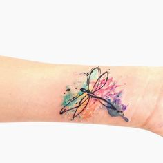 ... | Dragonfly tattoo design Dragonfly tattoo and Watercolor tattoos #TattooIdeasWatercolor
