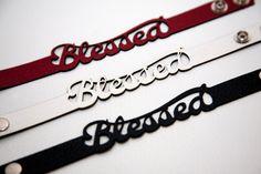 Blessed leather bracelet. Designed and laser cut by RockBodyLeather. $18