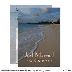 Just Married Beach Wedding Photo Announcement