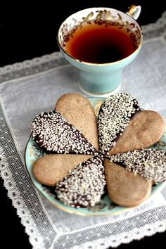 Kitchen Vignettes by Aubergine: Buckwheat Shortbread Hearts Dipped in Chocolate and Sesame