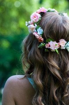 Flowered headband beautiful hair