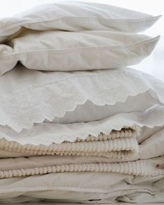 Before you put winter bedding and blankets into storage, tie up the unwieldy bundle with some old stockings.