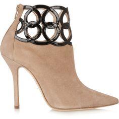 Oscar de la Renta Suede and patent-leather ankle boots