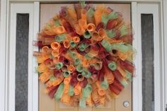 DIY: How to make a curly deco mesh wreath (Maybe in bright colors for party decor!)