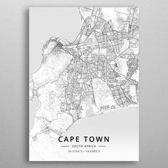 Cape Town, South Africa poster by from collection. Poster Prints, Art Prints, Map Art, Cape Town, South Africa, Entrance, Maps, Wallpapers, City