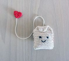Handmade Crochet Amigurumi Play Food Tea Bag from ChelseaAndMarbles on Etsy.Adorable handmade tea bag with heart hang tag, cotton. Top artisan pick from Etsy!This cute tea cup and tea bag are crocheted & embroidered by hand with love! Marque-pages Au Crochet, Crochet Kawaii, Crochet Mignon, Crochet Food, Crochet Patterns Amigurumi, Love Crochet, Crochet Gifts, Crochet Dolls, Crochet Stitches