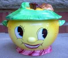 PY Anthropomorphic Lemon Face Cookie Jar