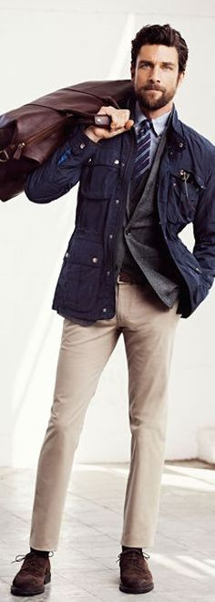 Men's Navy Military Jacket, Grey Blazer, White and Blue Vertical Striped Dress Shirt, Beige Chinos How To Wear Joggers, How To Wear Blazers, Blazers For Men, How To Wear Headbands, How To Wear Scarves, Field Jacket Men, Field Jackets, Brogues Outfit, Beige Chinos