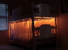 """Alexys would love this. Use christmas lights, a dimmer switch and shower hooks for the """"curtain"""". FUN!"""