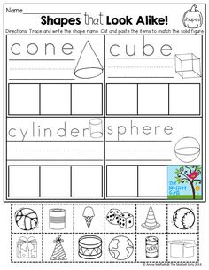 Worksheet 3d Shapes Worksheets For Kindergarten the shape 3d shapes and literacy on pinterest cut paste 3 d shapes