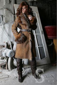 Fox Fur Trimmed Sheepskin Coat