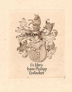 Ex libris by Alfred Cossmann for for Hans Philipp Gutacker