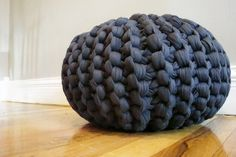 Chunky Jersey Knit Pouf: You can actually buy the tutorial for this pouf, created using cotton jersey fabric. We wonder if you could do something similar using repurposed t-shirts. (via Dana's Joy on Etsy) Arm Knitting, Knitting Patterns, Crochet Patterns, Knitting Projects, Crochet Projects, Sewing Projects, Chunky Wool, Accent Pieces, At Least