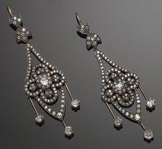 Pair of gold, silver and diamond pendant earings, circa Head Jewelry, Photo Jewelry, Fine Jewelry, Victorian Jewelry, Antique Jewelry, Vintage Jewelry, Brown Earrings, Pendant Earrings, Diy Earrings