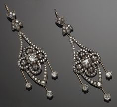 PAIR OF GOLD, SILVER AND DIAMOND PENDANT EARRINGS, circa 1880