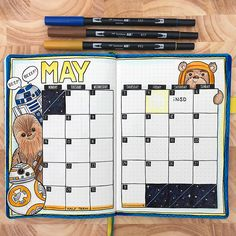 May the Fourth - Star Wars themed bullet journal spread! Monthly bujo layout created with Tombow markers in a dot grid journal. Bullet Journal Vidéo, Bullet Journal Monthly Spread, Bullet Journal Themes, Bullet Journal Layout, Bullet Journal Inspiration, Bujo Monthly Spread, Bullet Journal Cover Page, Journal Ideas, Bullet Journel