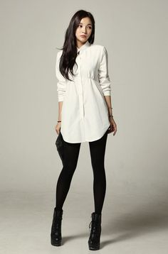 Chic look by having a long tunic type shirt/dress paired with leggings and boots: Korean Styles, Magazines Shirts, Streetfashion Models, Types Shirts Dresses, Styles Dresses, Models Koreanmodel, Shirts Dresses Pairings, Tunics Shirts Dresses, Clothing Styles by TomiSchlusz