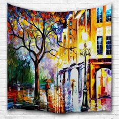 Oil Painting Rainy Night 3D Printing Home Wall Hanging Tapestry for Decoration - multicolor A W153CMXL102CM Tapestry Fabric, Hanging Wall Art, Tapestry Wall Hanging, Cheap Wall Tapestries, Rainy Night, Design Fields, Wall Signs, Wall Prints