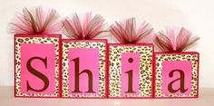 LARGE BLOCKS - Shia Collection Personalized Blocks - Leopard Print with Hot Pink Name Blocks - Baby shower. $12.50, via Etsy.