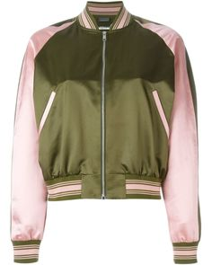 Alexander Mcqueen Striped Trim Bomber Jacket In Khaki & Foxglove Green Bomber Jacket, Satin Bomber Jacket, Bomber Jackets, Star Fashion, World Of Fashion, Alexander Mcqueen, Embroidered Bomber Jacket, Fashion Week 2015, Types Of Fashion Styles