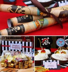 PIRATE TABLE (treasure maps, candy treasure bags & coconut icecream)