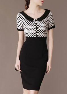 Vintage Chic Polka Dot Dress Black Patchwork Elegant by Chieflady, $89.50