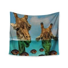 """Suzanne Carter """"Larry & Fred Periscope"""" Mixed Media Animals Wall Tapestry"""