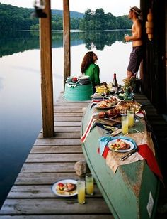 Canoe dinner spread