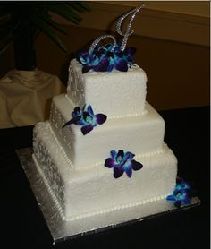 blue orchid wedding cake topper square wedding cake swirly piping blue purple flowers 11998