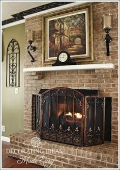 A Fireplace Makeover, Our fireplace was painted white.  It was really boring and needed help!  So, I faux finished the brick, and accessoriz...