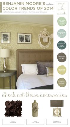 The Paisley Allover Stencil and Benjamin Moore's 2014 Color Trends. http://www.cuttingedgestencils.com/paisley-allover-stencil.html  Love these colors!!!!!