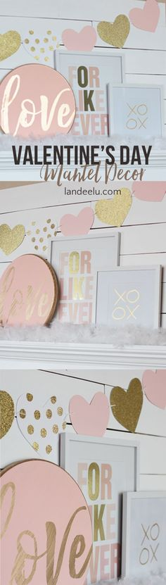 DIY Pink and Gold Valentine's Day Mantel Ideas and Inspiration | landeelu.com Pretty blush pink, gold and white Valentine's Day mantel decorations!