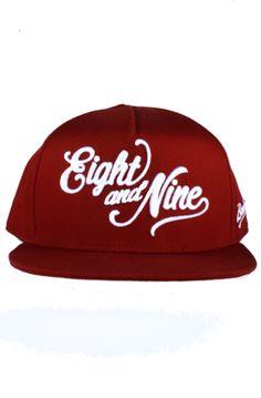 70ecc16c416  29.89 Burgandy White Snapback Baseball hat with script Eight  amp  Nine  logo and brain