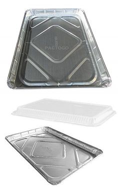 Handi-Foil Half 1/2 Size Sheet Cake Aluminum Foil Pan w/Clear Low Dome Lid (pack of 10)