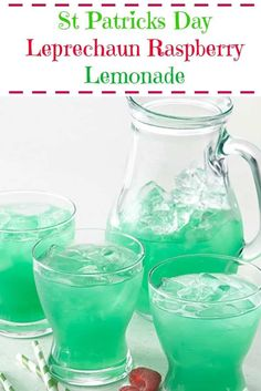Learn how to prepare Leprechaun Raspberry Lemonade. Quench the thirst of your little leprechauns with green-tinted raspberry lemonade. St Patty's Day Drinks, St Patricks Day Drinks, Fun Drinks, Green Alcoholic Drinks, St Patrick's Day Cocktails, Party Drinks, Green Punch, Raspberry Lemonade, St Paddys Day