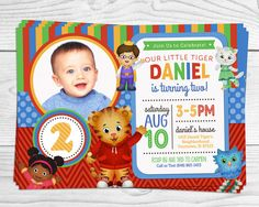 Hey, I found this really awesome Etsy listing at https://www.etsy.com/listing/213785818/daniel-tiger-party-invitation-with-photo