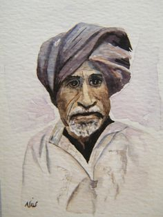 Male portrait, original watercolor, miniature painting, aceo sized art, Man in a turban, Indian male, man with a beard, character portrait