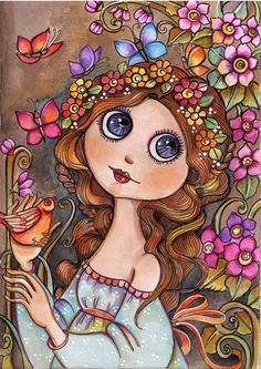 Violet Art Print by Lidia Gennari - X-Small Art And Illustration, Arte Pop, Whimsical Art, Art Plastique, Face Art, Doodle Art, Art Girl, New Art, Cute Pictures