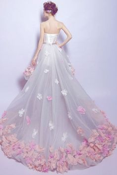 Flower Prom Dress Short Front Long Back Homecoming Gown ~ Sale! Wedding Dresses With Flowers, Tulle Wedding, Flower Dresses, Bridal Dresses, Long Back Dress, Prom Dress With Train, Formal Evening Dresses, Formal Gowns, Evening Gowns