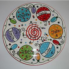 cute christmas platter. want to do this this year